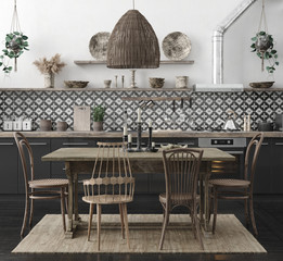 Ethnic kitchen interior, 3d render