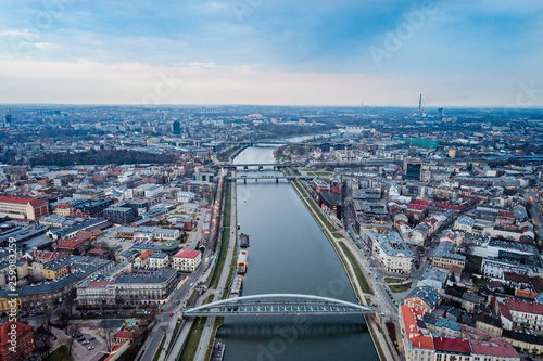 Aerial drone view on bridge over Vistula river in Cracow.