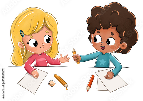Niños en el colegio prestando un lapiz - 259083807