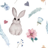 Hand drawn seamless pattern with rabbit, feathers and flower. Watercolor illustration - 259086065