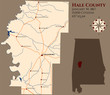 Large and detailed map of Hale county in Alabama, USA
