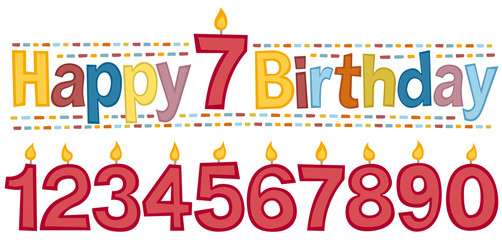 "Happy birthday, white background. Retro style lettering phrase ""Happy birthday"". You can change the candle with the number of years you want."