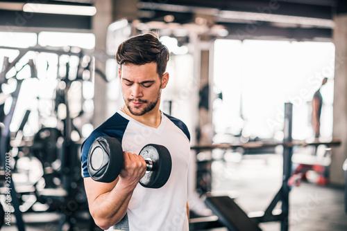 Fototapeten Fitness Exercising with dumbbells.