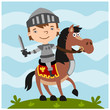 Funny boy knight in cartoon style sitting astride a horse with a sword in his hand