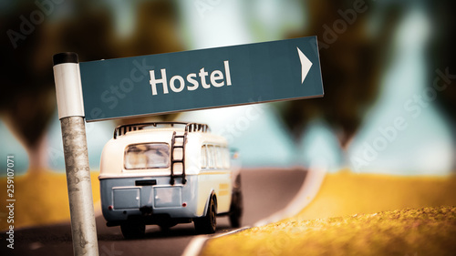 Street Sign to Hostel - 259107071