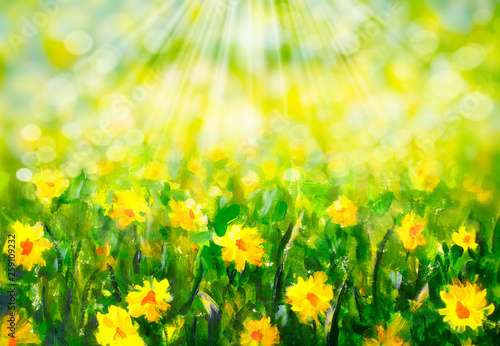 Spring sunny summer background - oil painting © weris7554