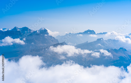 Silhouettes of the mountain in clouds Dolomites Alps Italy