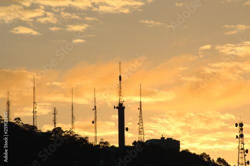 fototapeta na ścianę Nascer do sol no Morro da Cruz, cidade de Florianópolis, estado de Santa Catarina, Brasil