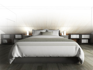 Bedroom on a dark floor against a wooden wall. 3d rendering