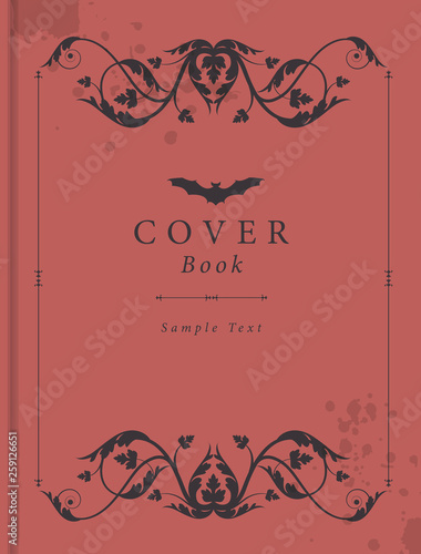 Book Cover With Antique Style Ornamental Frame Moisture Stains And Bat Icon Over Sample Text