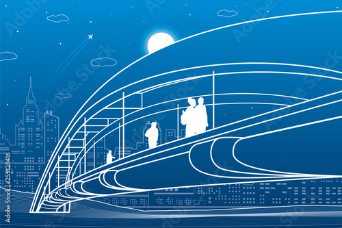 People walking at pedestrian bridge. City skyline. Modern night town. Infrastructure illustration, urban scene. White lines on blue background. Vector design art  - 259128416