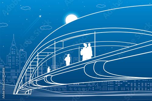 People walking at pedestrian bridge. City skyline. Modern night town. Infrastructure illustration, urban scene. White lines on blue background. Vector design art  - 259128416