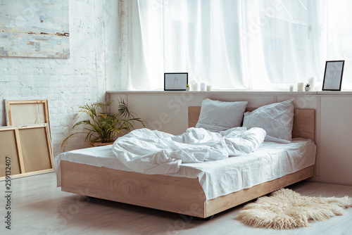 interior of bedroom with cozy bed, pillows, blanket, pictures and plant - 259132407