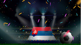 Fans hold the flag of Slovakia among silhouette of crowd audience in soccer stadium with confetti to celebrate football game. Concept design for football result template