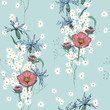Realistic isolated seamless floral pattern. Hand drawn vector illustration. Paradise flowers. - 259141281