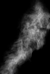 dense light grey smoke on black