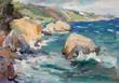 Landscape sea shore and stormy sea - 259149611