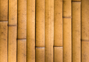 Yellow Bamboo cane wall as background © crisfotolux