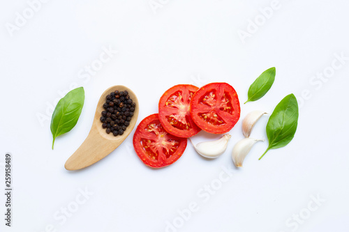 Various fresh vegetables and herbs on white background. Healthy eating concept © Bowonpat
