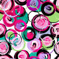 seamless background pattern, with circles, strokes and splashes © Kirsten Hinte