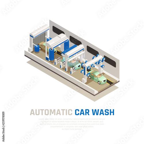 Carwash Service Isometric Concept
