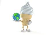 Ice cream character holding world globe