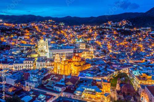 Leinwandbild Motiv The amazing city of  Guanajuato, Mexico seen from the Pipila viewpoint.