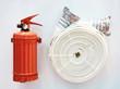 Powder fire extinguisher and fire hose