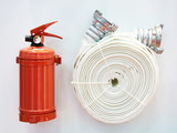 Powder fire extinguisher and fire hose