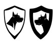 dane dog head in simple heraldic shield - security concept black and white vector design