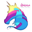 Fantasy animal horse unicorn silhouette. Cut out paper art style design.