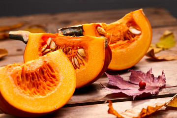 fresh pumpkin and leaves