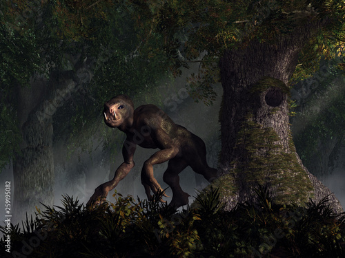 A creepy humanoid monster stalks a dark forest  This creature has