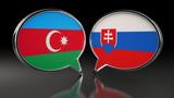 Azerbaijan and Slovakia flags with Speech Bubbles. 3D Illustration