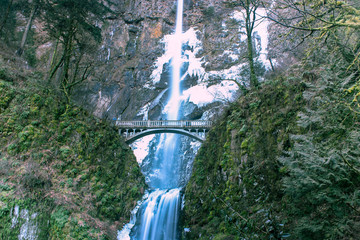 A winter view of Multnomah Falls in Oregon's Columbia River Gorge.