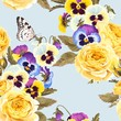 Seamless pattern with yellow roses and pansies - 259207223