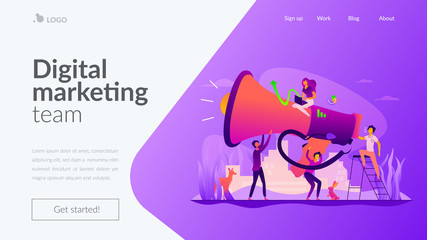 Digital marketing team, marketing team metrics, marketing team lead and responsibilities concept. Website homepage interface UI template. Landing web page with infographic concept hero header image. © VIGE.co
