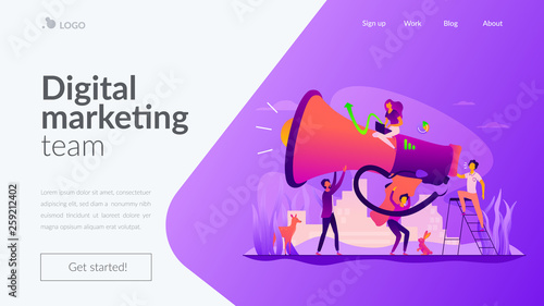 Digital marketing team, marketing team metrics, marketing team lead and responsibilities concept. Website homepage interface UI template. Landing web page with infographic concept hero header image. - 259212402