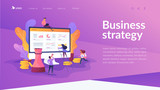 Consulting, expert advice, business strategy and support concept on white background. Website interface UI template. Landing web page with infographic concept creative hero header image.