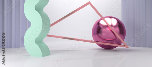 3D Render, 3D Render, abstract scenery geometric minimalist pastel color and chrome © Thiago Melo
