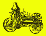 Historic steam road locomotive, tractor, vehicle with water tank in side view. Illustration after an engraving from the 19th century. Editable in layers