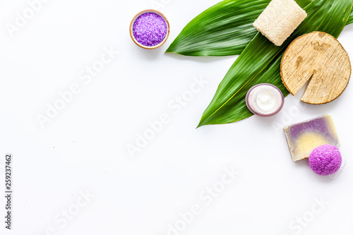 herbal organic cosmetic set for homemade spa on white background flatlay mock-up © 9dreamstudio