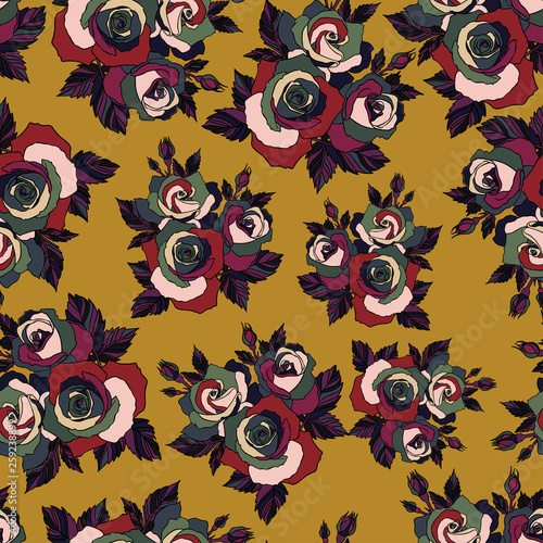fototapeta na ścianę Blooming roses. Seamless design with colorful roses and leaves on yellow background. The design is suitable for clothes, wallpaper, background.