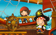 cartoon scene with pirate ship sailing through the sea - pirate on the deck - illustration for children - 259239054