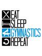 turnen essen schlafen wiederholen fitness logo täglich eat sleep repeat mann auf pauschenpferd turngerät hocker gymnastikgerät sport sportlich trainieren spaß hobby verein männer turner gymnastik