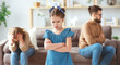 Leinwanddruck Bild - family quarrel divorce parents and child swear, conflict