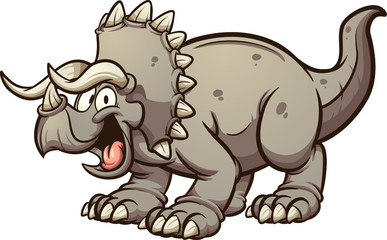 Cartoon triceratops dinosaur clip art. Vector illustration with simple gradients. All in a single layer.  © Memoangeles