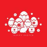 Vector illustration of Easter Rabbit red background.