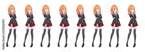 Anime manga student girl in blazer and red skirt - 259262455