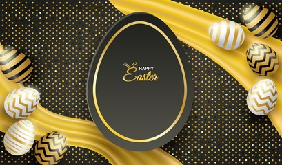Happy easter celebration. golden,white easter egg on black background ,light and shadow . Vector.